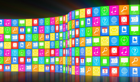 A wall of different smartphone app icons