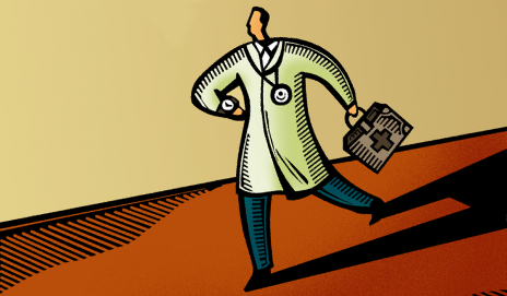 Cartoon of doctor running