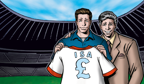 Cartoon of man holding Isa football shirt, illustration by Peter Pachoumis