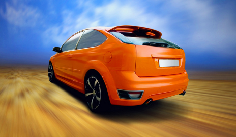 An orange Ford Focus car