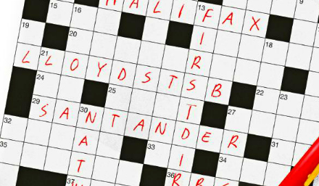 Crossword filled in with bank names