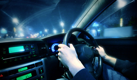 A car interior at night