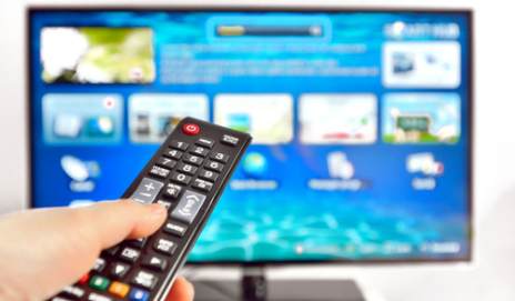 Pointing a remote control at a TV