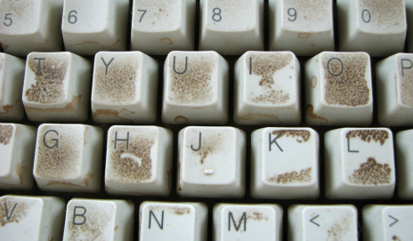 Dusty computer keyboard