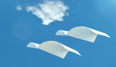 Flying sheets of paper