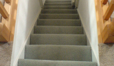 A set of carpeted stairs