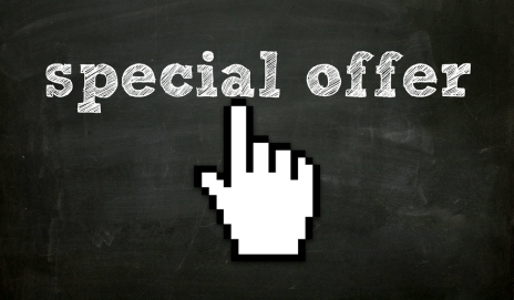 A hand icon clicking on a special offer