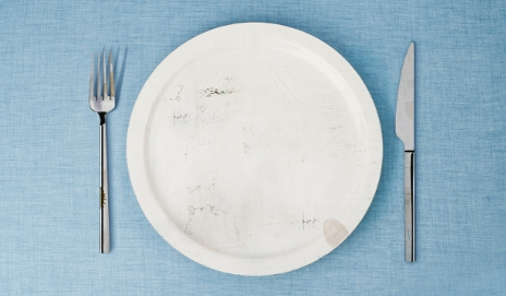 A dirty plate with knife and fork