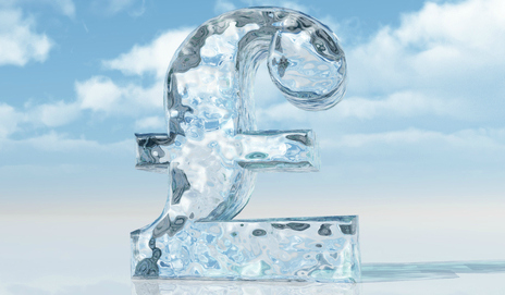 A pound symbol made of ice