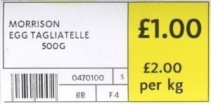 Morrisons shelf label after supporting our campaign to Price it Right