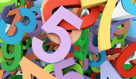 A pile of colourful numbers