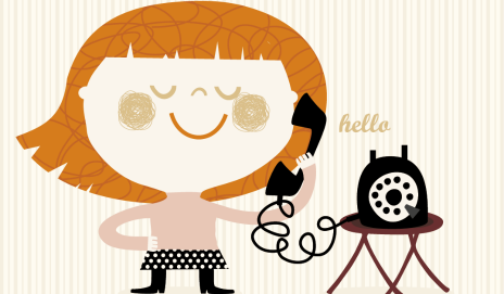 Cartoon of girl on phone
