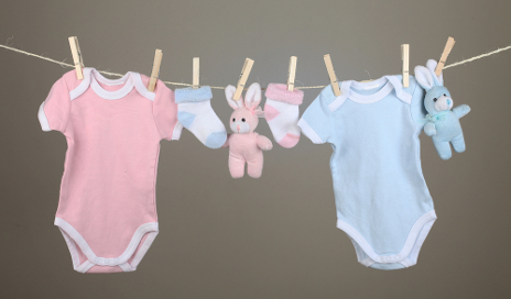 Baby essentials on washing line