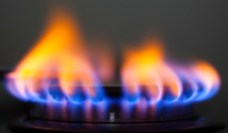 A gas hob ring turned on