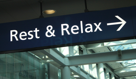 Rest and relax sign in airport