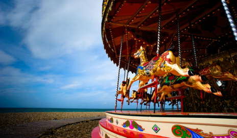 A carousel on a beach front