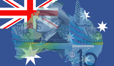 Map of Australia with flag and currency