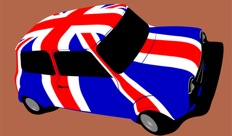 British flag painted on Mini Cooper
