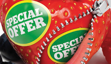Strawberry with special offer sticker
