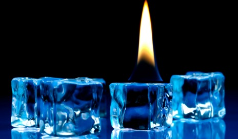 Ice cubes with flame