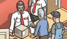 Cartoon showing salespeople in shop