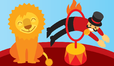 Lion and circus master jumping through hoop