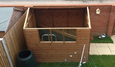Shed with roof off