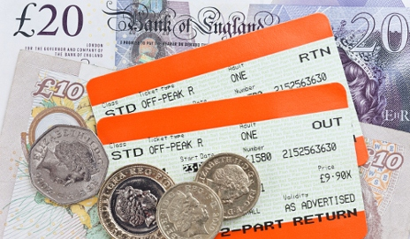 Train tickets with money