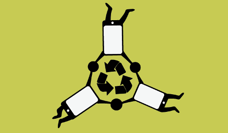 Smartphones with recycling logo