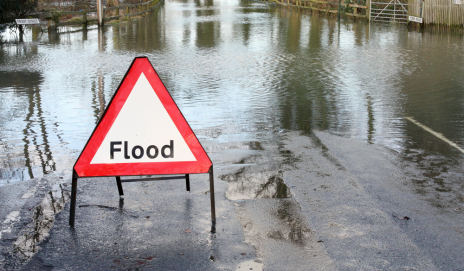 Flood road sign