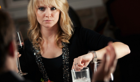 Angry woman in restaurant