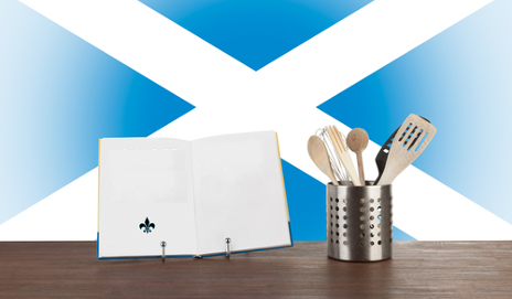 Scottish flag with cooking equipment