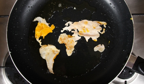 Frying pan with world map