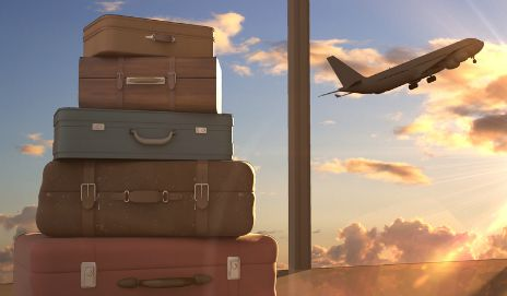 Suitcases and plane
