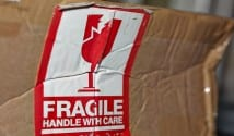 Parcel, damaged, handle with care, fragile