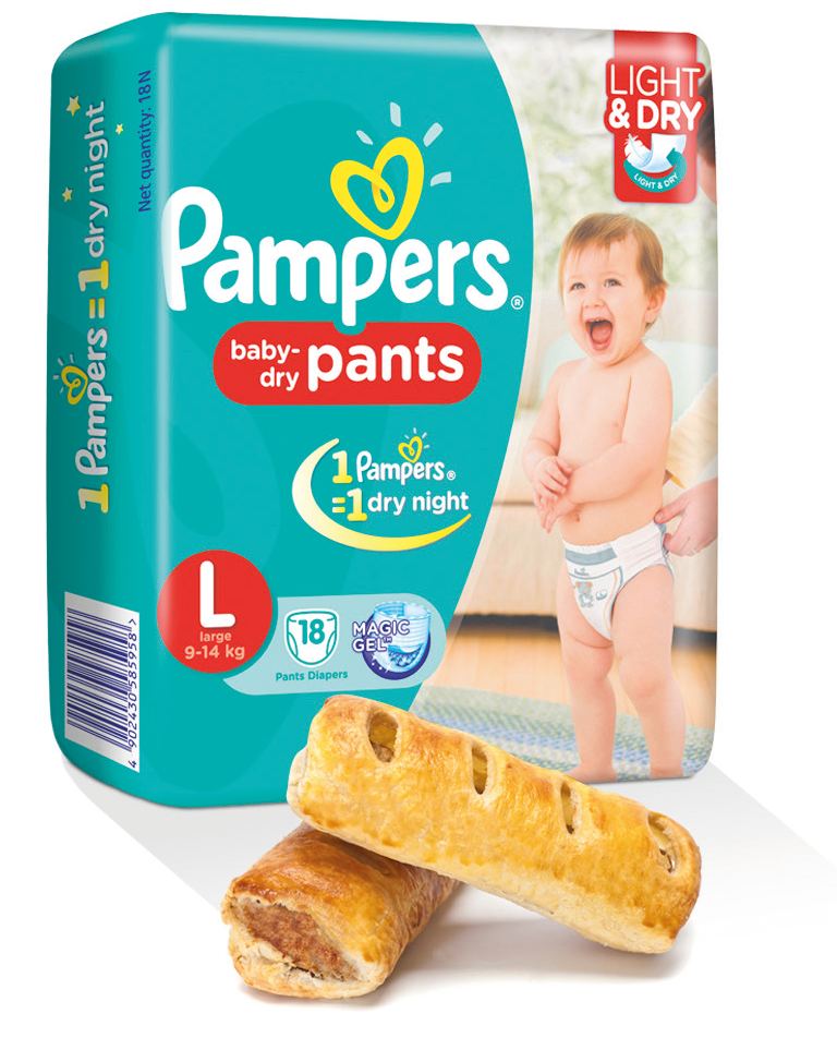 Pampers and sausage rolls