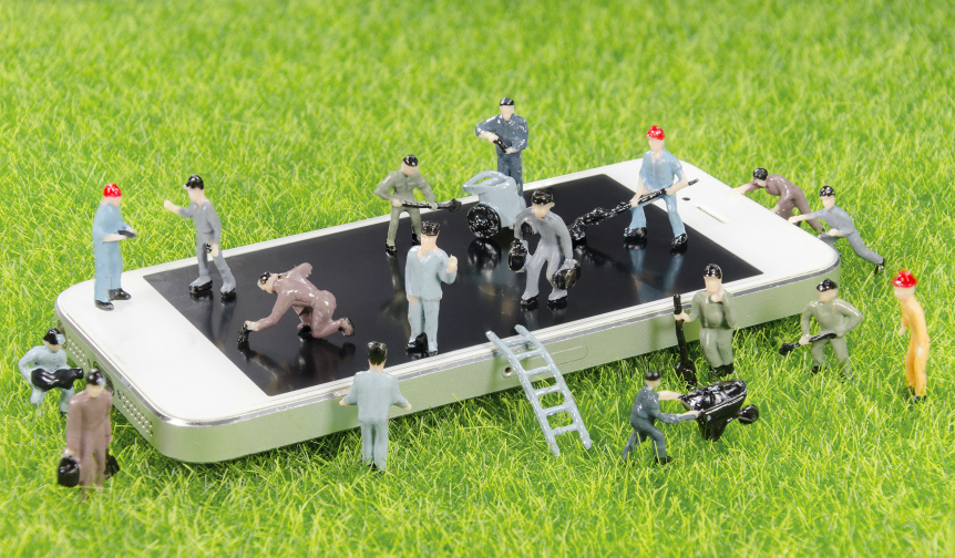 Miniature people on iPhone