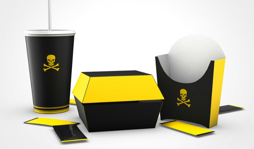 Junk food cartons with skull and crossbones, symbolising food fraud