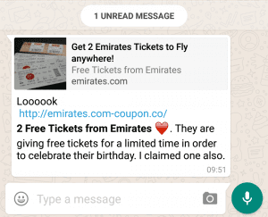 Whatsapp Emirates scam