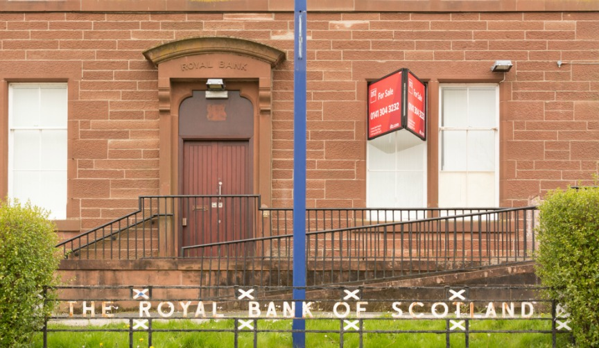 Closed-down bank branch
