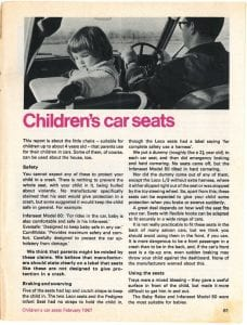 Child car seats Which? Feb 1967