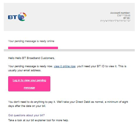 BT email scam
