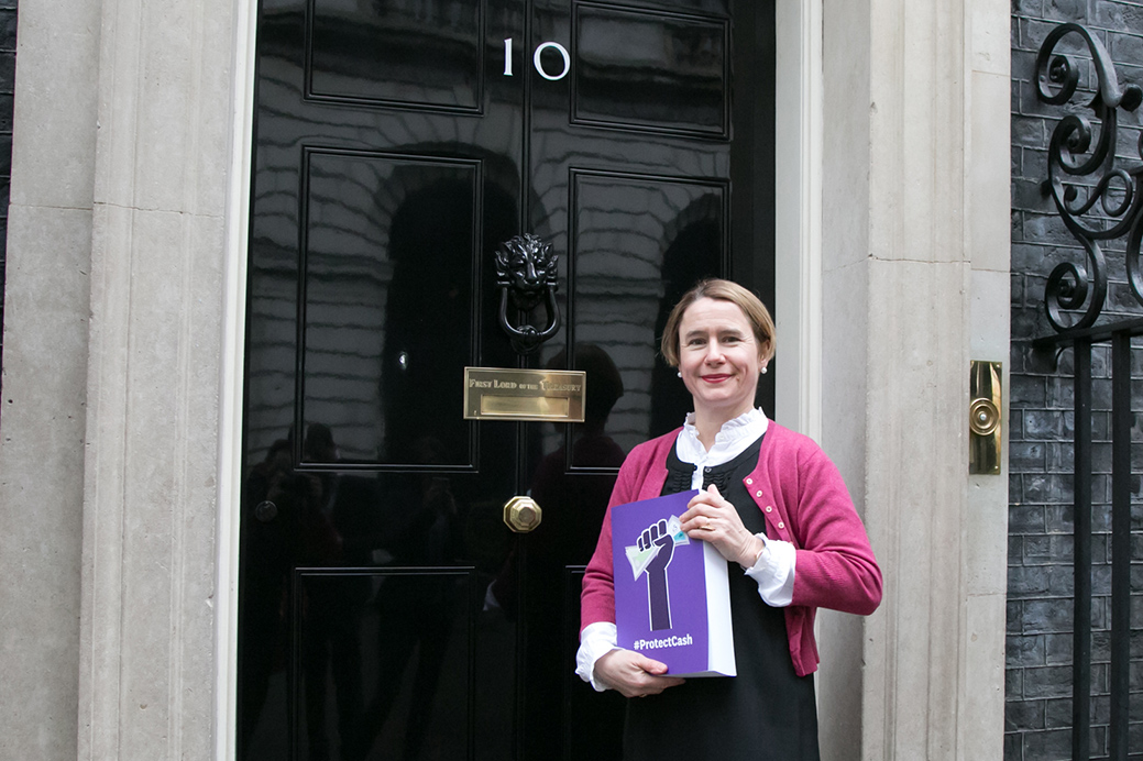 Which? CEO Anabel Hoult drops off the comments submitted to Which? Conversation to No 10 Downing Street