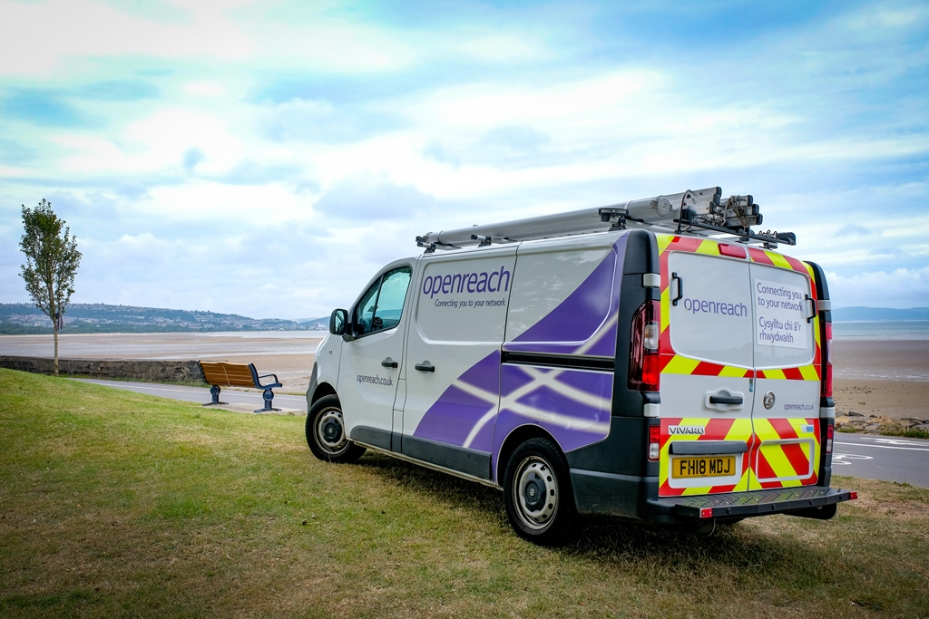 An Openreach van parked in front of Swansea bay